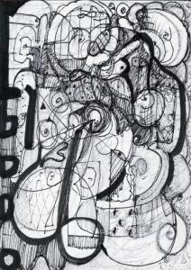 Abstract Expressionist Drawing by Stephen Lucas-start to finish- October